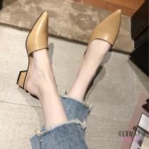 【免運】尖頭純色中跟穆勒鞋 粗中跟懶人拖鞋質感平底鞋涼鞋休閒鞋(2色) X RUNWAY FASHION ICON
