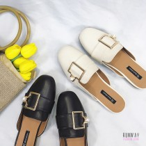 【免運】珍珠方頭低跟拖鞋涼鞋休閒鞋(2色) X RUNWAY FASHION ICON