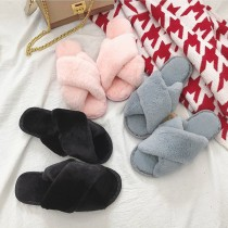 【現貨灰38】【免運】韓版單色可愛交叉毛絨棉質居家毛毛鞋寢室拖鞋(3色) X RUNWAY FASHION ICON