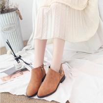 【現貨棕39】【免運】英倫風百搭V口率性平底拉鍊粗跟裸靴女鞋(2色) X RUNWAY FASHION ICON