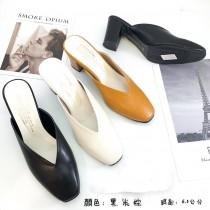 【免運】氣質尖頭粗跟懶人鞋中高跟鞋涼拖鞋 3色 X RUNWAY FASHION ICON