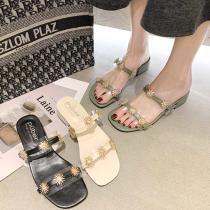 【免運】透明小花朵粗跟中跟 女鞋涼鞋拖鞋 (3色) X RUNWAY FASHION ICON