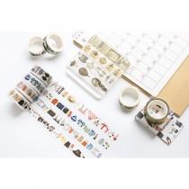 【買三送二】清新生活系列復古塗鴉手創紙膠帶_20MM*10M單捲入(12色)
