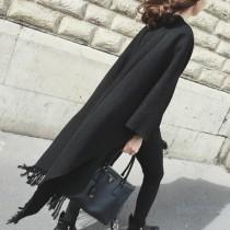 【免運】歐風時髦流蘇仿羊絨百搭黑色加厚披肩保暖圍巾 X RUNWAY FASHION ICON