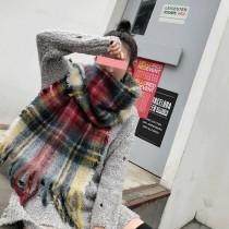 【免運】韓版彩色格紋加厚仿羊絨毛邊保暖圍巾圍脖 X RUNWAY FASHION ICON
