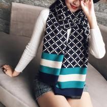 【免運】韓版雙面格子拚色條紋加厚仿羊絨保暖圍巾披肩圍脖3色 X RUNWAY FASHION ICON