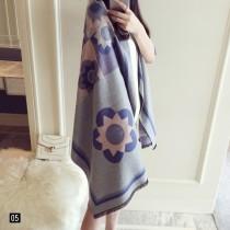 【免運】秋冬新款加厚羊絨圖案彩圖造型保暖圍巾圍脖披肩6色 X RUNWAY FASHION ICON