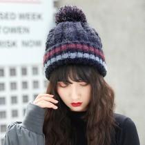【現貨】毛球毛線保暖針織帽子 ♥ 秋冬條紋加厚加絨 (6色) X RUNWAY FASHION ICON