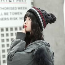【現貨+預購】毛球毛線保暖針織帽子 ♥ 秋冬條紋加厚加絨 (4色) X RUNWAY FASHION ICON