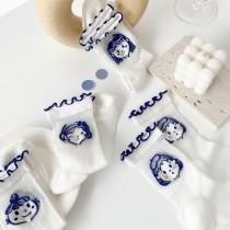 【3入組】透氣牛奶絲半透明可愛Q版妹子 日系棉襪子  ♥  棉質中高筒襪(5色) X RUNWAY FASHION ICON