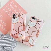 【影片實拍】幾何菱形燙金大理石粉手機殼保護殼iPHONESamsung三星HUAWEI華為 X RUNWAY FASHION ICON