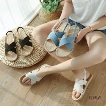 【免運】新款夏季休閒草编凉鞋交叉平底鞋 (3色) X RUNWAY FASHION ICON