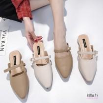 【免運】韓版尖頭繫帶涼鞋休閒鞋穆勒鞋懶人半拖鞋 (2色) X RUNWAY FASHION ICON