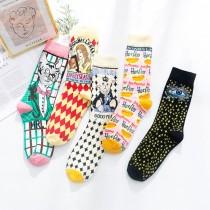 愛麗絲夢遊仙境 熱狗貓咪少女漫畫系 日系棉襪子(3雙)  ♥  棉質中高筒襪(5色) X RUNWAY FASHION ICON