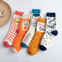 卡通格子可愛甜美果汁番茄醬學院風 日系棉襪子(3雙)  ♥  棉質中高筒襪(5色) X RUNWAY FASHION ICON