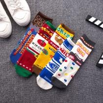 番茄醬巧克力繽紛彩色豆豆牛奶餅乾卡通學院風 日系棉襪子(3雙)  ♥  棉質中高筒襪(5色) X RUNWAY FASHION ICON