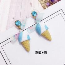 【現貨.可改夾】冰淇淋元素造型耳環藍色 X RUNWAY FASHION ICON
